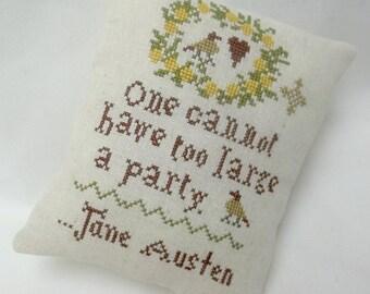 Jane Austen Party Quote Cross Stitch Mini Pillow
