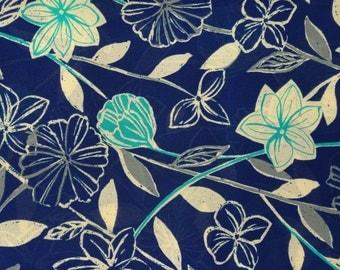Stunning John Kaldor Fabric, Dark Blue with Floral Design, Polyestor, 2.5m x 160cm, John Kaldor Fabricmaker,