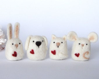Needle Felted Bunny, Mouse, Cat and Dog with a heart