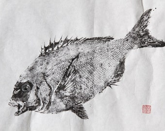 RED SEA BREAM (Tai)  Original Gyotaku - traditional Japanese fish art