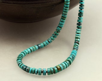 Graduated Turquoise Heishi Necklace with Shell Heishi, Southwestern Necklace, Turquoise Necklace, Graduated Turquoise Necklace
