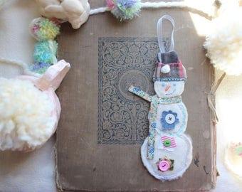 Snowman Fabric Handmade Adorable Holiday Ornament