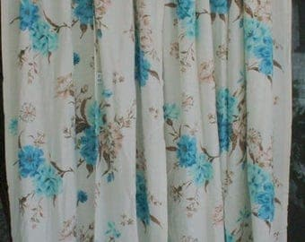 Retro Drapes Florals 1950's Pinch Pleats French Country Romantic Cottage Chic