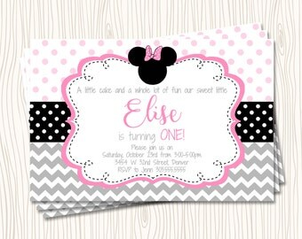 Custom Minnie Mouse - First 1st Pink Grey Black Polka Dot Birthday Party Invitation   - Any Color