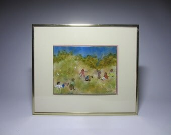 Mid Century Dorothy Stephenson Kids Playing Art Enamel On Copper