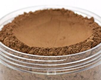 "Vegan Mineral Powder Foundation - Delicate - ""Cocoa"" (dark shade with neutral undertone) Large Net wt 7g Jar"
