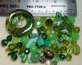 BEAD SOUP - Destash - Czech Press Glass, Art Glass, Vintage Glass, Crystals - greens - variety - beads PG898