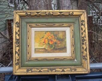 Floral Still Life Oil Painting on Board Framed Flowers Vintage