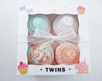 Twin Girl Baby Gift 12 piece set Baby gift for Twin Girls coral - 3 month