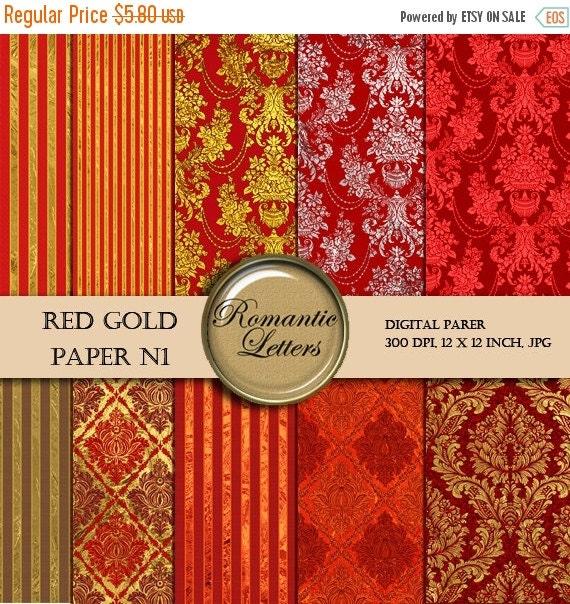 SALE-50% Digital paper damask gold digital paper red gold digital background digital Scrapbook gold damask paper background printable Steamp