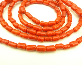 """40"""" long strand coral red color glass trade beads tribal components AH-0024"""