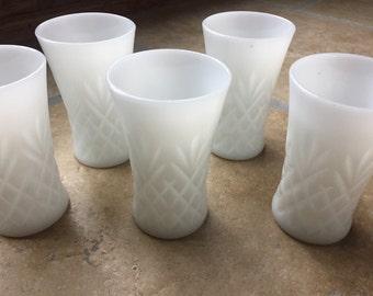 5 Milk Glass Tumblers