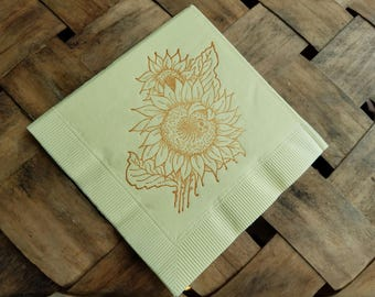 Light Yellow Sunflower Wedding Cocktail Napkins with Ladybug in Sepia ink- Set of 50
