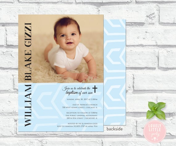 Boys Baptism invitation - printable or printed options - Lovely Little Party