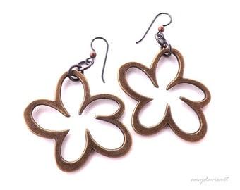 Large Earrings, Bronze Earrings, Unique Gift for Her, Rustic Jewelry, Niobium Earwires (Hypoallergenic), Fun Funky Earrings for Women