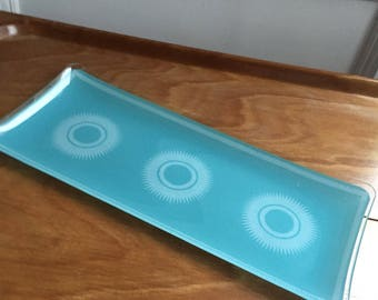 1970s turquoise chance glass serving plate