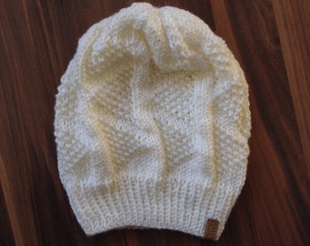 Inverness Hat - Cream knit slouchy style hat with triangle pattern