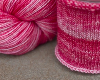 Hand Dyed Sock Yarn in Oh Sweetheart! colorway, Pink Superwash Merino and Nylon Fingering Yarn