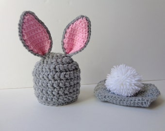 Crochet Newborn Bunny Rabbit Hat and Diaper Cover, Gray and Pink, Photo Prop