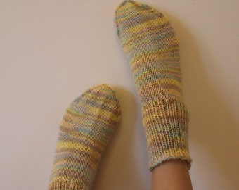 Pastel colors Boot wool Socks Womens boys girls Warm Handknitted Durable Cozy Light colors Yellow Pink Spring Gift idea Made in Finland