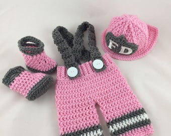 Baby Girl Firefighter Fireman Crochet Pink Hat Outfit - 4pc Turn Out Gear w/Suspenders & Boots - Photography Prop - Newborn - 0-3