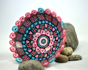 Bowl, Decorative or Functional, Turquoise, Pink, White and Black Geometric Polymer Clay