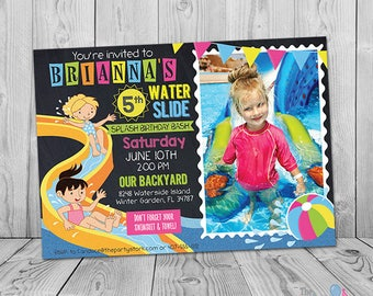 Waterslide Birthday Invitation, Printable Waterslide Invitation, Waterslide Party Invitation Girl, Water Slide Birthday Invite, Pool Party