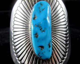 "Concho Style Vintage Navajo HUGE 925/ Kingman Turquoise 3"" Tall Cuff"