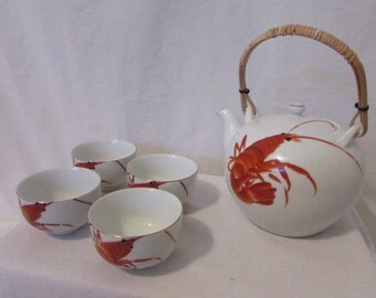 Vintage Japanese Teapot and 4 Cups Prawn Design Hand painted Porcelain