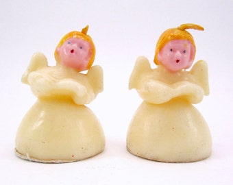 1950s Tavern Angel Candles Choir Angels Kitsch Christmas Candles Decorations