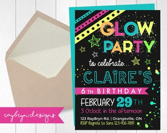 Glow Party | Girl's Birthday Invitation | Neon colours and paint splatter | Printable file.