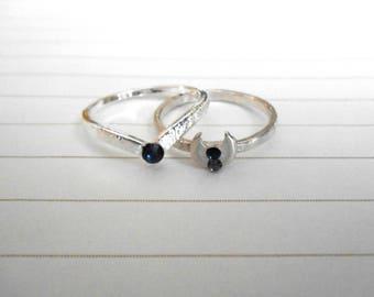 Black Moon Rising Ring Set