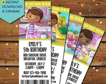 Doc McStuffins Invitations, Doc McStuffins Birthday Invitation, Doc McStuffins Invite, Doc McStuffins Party Invitation