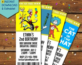 Cat in the Hat Birthday Invitations, Cat in the Hat Invitation, Cat in the Hat Baby Shower Invitation, Cat in the Hat Party Invite, Dr Seuss