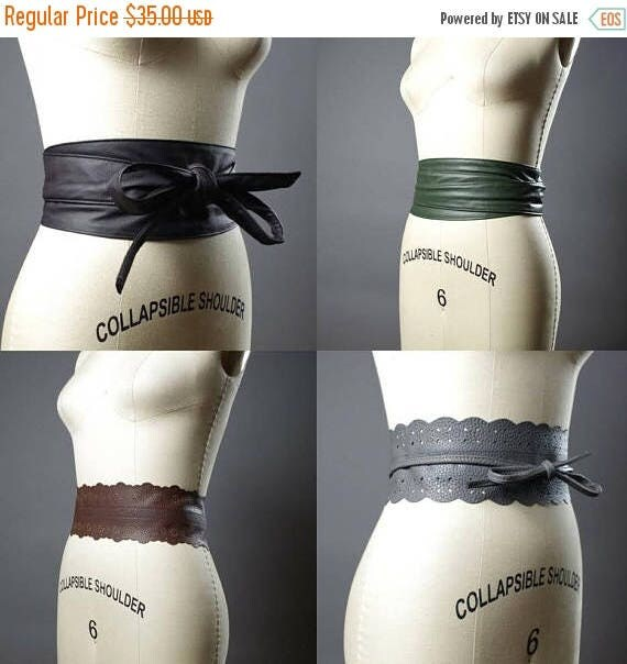 SUMMER SALE Vegan Leather Obi Belt - Navy Leather Obi Belt - Women's Wrap Belt - Double Wrap Obi Belt