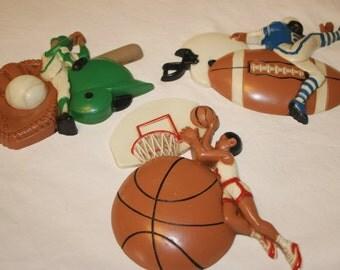 1991 Burwood Plastics Sports Decor Set 3 Made in USA Football Basketball Baseball Wall Decor