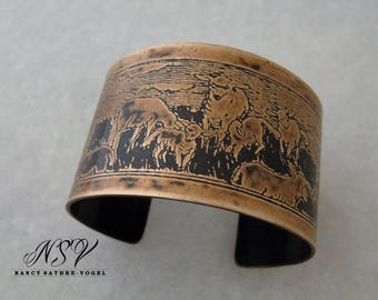 Sheep cuff bracelet etched  with historical drawing