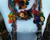 Reserved Listing for Jessie - Skinny Scarf, Flower Scarf, Lariat Scarf, Boho Hippie Scarf, Art Yarn Scarf, Eco Bohemian Fashion