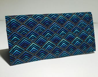 Fabric Checkbook Cover - Turquoise, Black, and Gold Pattern with Black Interior