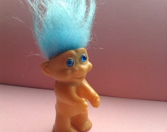 Vintage Clip on Troll Doll, blue hair, blue eyes, clip Troll, collectible, egst, made in Korea, Greece