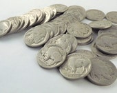 Roll Buffalo Nickel Coins, 40 Indian Head Coins, Collectible Coin Lot Set, No Dates 1913 to 1938