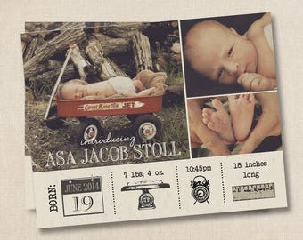 Baby Birth Photo Announcement Announcements Photo Cards Magnet vintage boy or girl