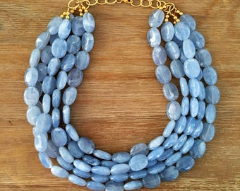 Statement Necklace Bridesmaid Jewelry JACKIE O CHAMBRAY Blue Necklace Wedding Jewelry Statement Jewlery White Necklace