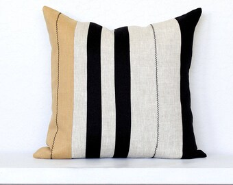 Mali Colorblock Stripe Pillow Cover with Stitching -  Black Combo