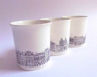 Villeroy and Boch Ceramic Cups Set of Three Tea Coffee Amsterdam Canal Architecture