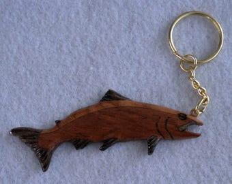 Keychain Fish Salmon carved  Natural Wood for the Fisherman Fisherwoman