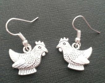 Silver Chicken Earrings