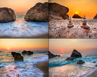 Digital files, sunset beach decor, large wall art sea and rocks sunsets in Greece, print to frame for your wall, nautical printable art