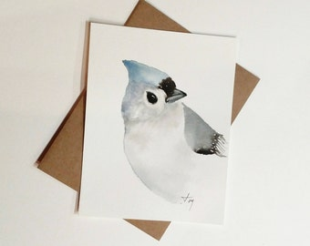 Tufted Titmouse Watercolor Painting  Card/ Bird Watercolor Painting, Nursery Artwork