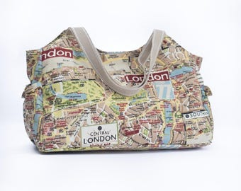 London map shoulder bag, baby changing handbag, nappy bag, diaper bag, large purse, baby shower gift, mum to be gift, new baby gift